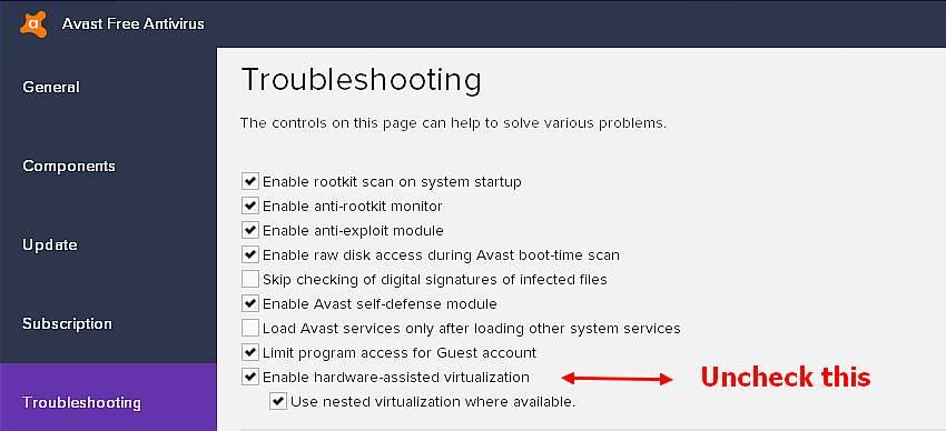 how to turn off hardware assisted virtualization avast 12.3
