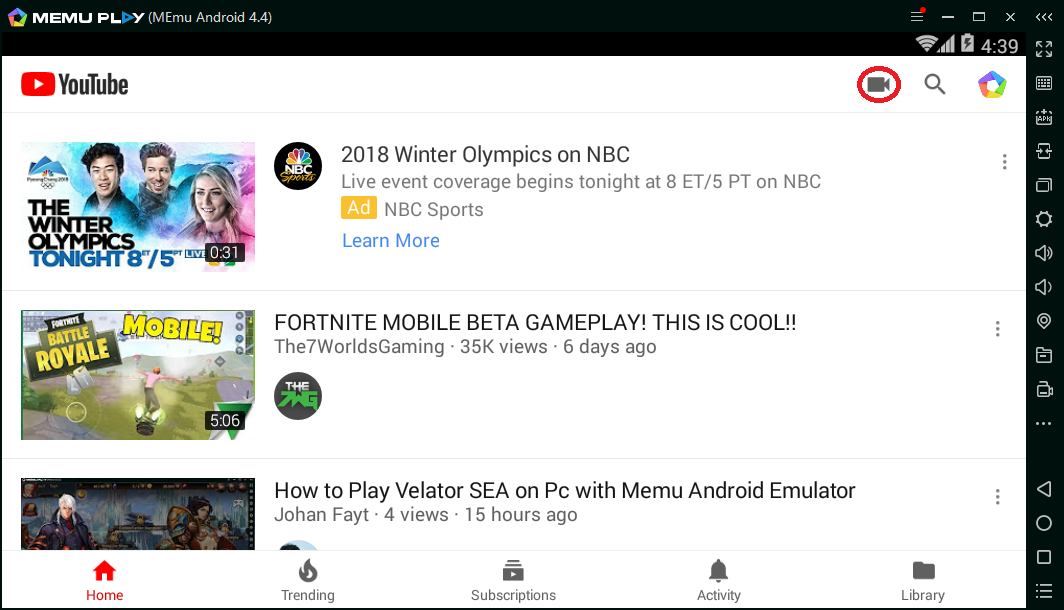YouTube App on PC
