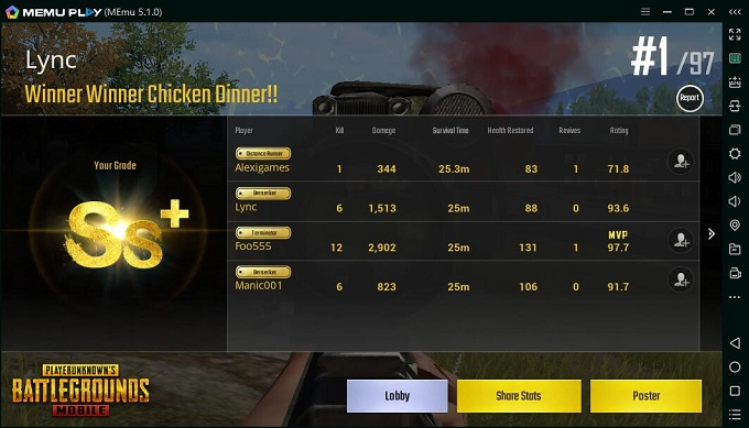 pubg mobile chicken dinner