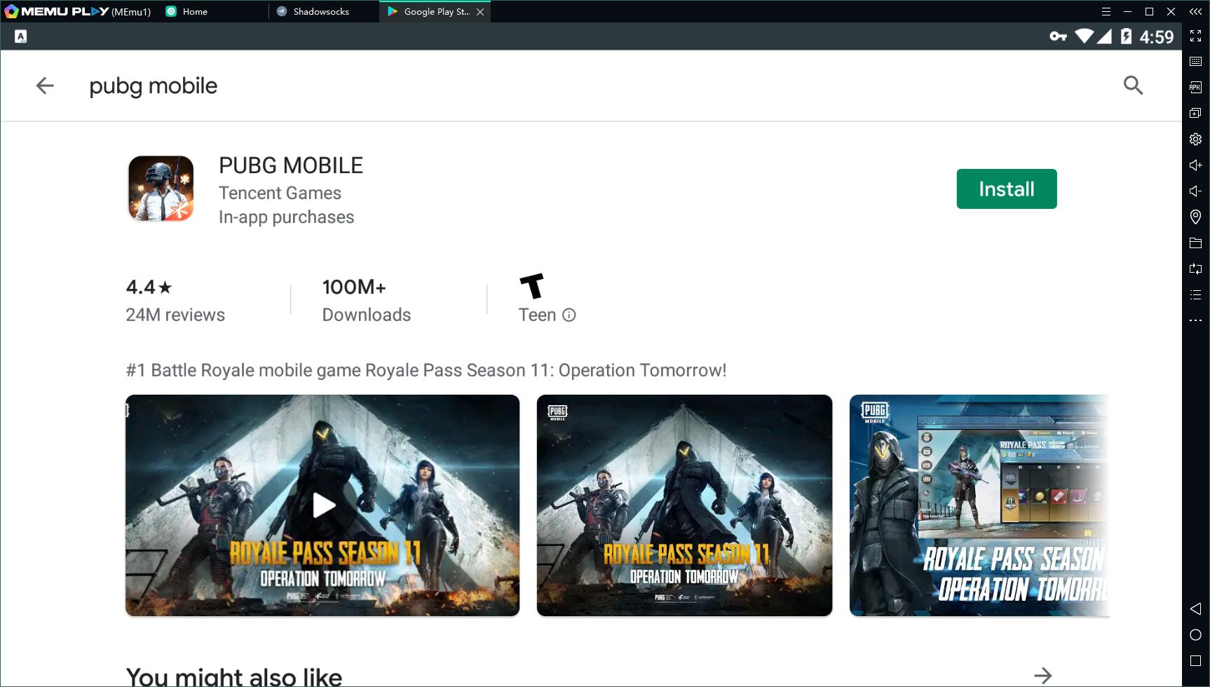 search pubg mobile in google play