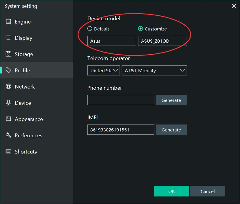 Customize device model in MEmu settings