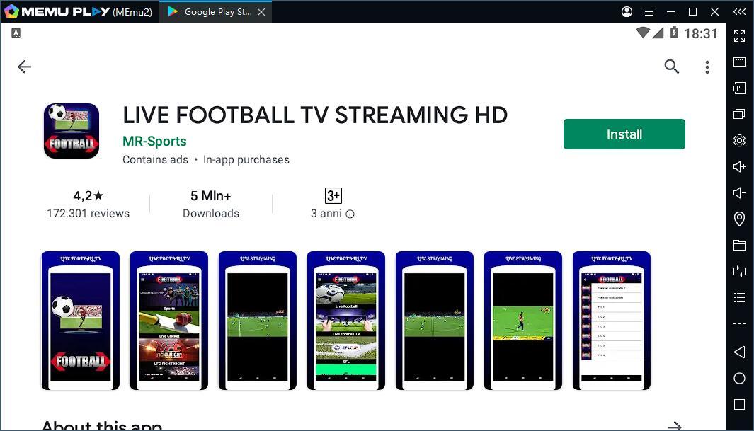 Come usare LIVE FOOTBALL TV STREAMING HD su PC