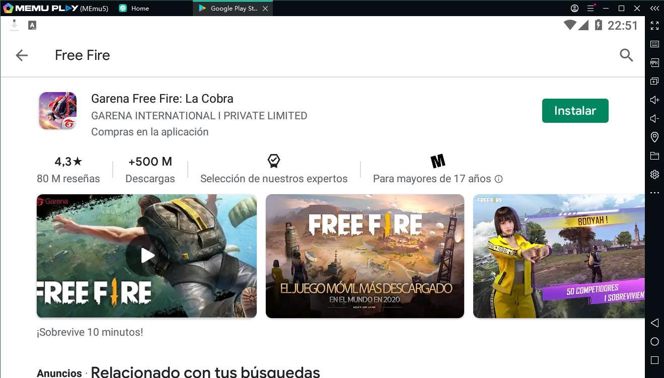 Descargar y jugar juego Free Fire en el ordenador